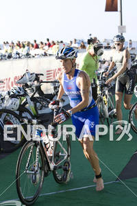 Nicole Leder heads out on to the bike course in the 2010 Ford Ironman World Championship in Kailua-Kona, October 9th, 2010.