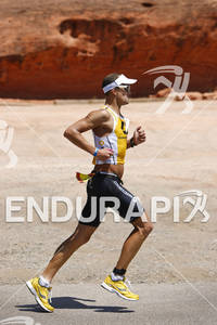 Maik Twelsiek on his second  lap of the run at the 2011 Ford Ironman St. George Utah May 7, 2011.