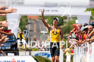 Mathias Hecht (CHE) enjoys victory at the 2011 Ford Ironman, St. George Utah