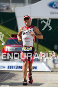 Ian Mikelson finishes at the 2011 Ford Ironman Lake Placid