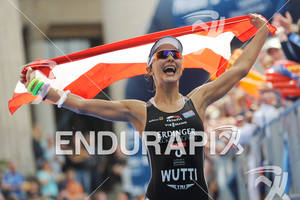 Eva Wutti (AUT) celebrates her second rank at the Sparkassen Finanzgruppe IRONMAN 70.3 European Championship in Wiesbaden, Germany August 14, 2011