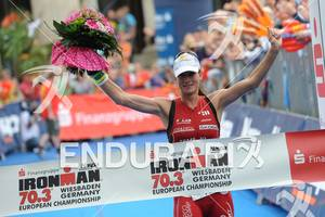 Karin Thuerig (SUI) wins at the Sparkassen Finanzgruppe IRONMAN 70.3 European Championship in Wiesbaden, Germany August 14, 2011