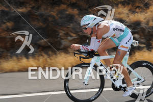 Julie Dibens competing in the bike portion of the 2011 Ford Ironman World Championship in Kailua-Kona, HI, October 8 2011
