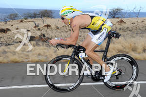 Pete Jacobs competing in the bike portion of the 2011 Ford Ironman World Championship in Kailua-Kona, HI, October 8 2011