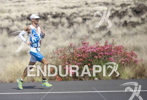 Dirk Bockel (LUX) runs on the Queen K Highway in the closing miles of the 2011 Ford Ironman World Championship