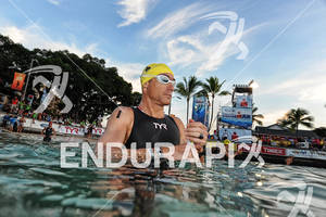 Craig Alexander before the swim start of the 2011 Ford Ironman World Championship in Kailua-Kona. HI
