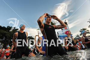 Age group athletes before the swim start of the 2011 Ford Ironman World Championship in Kailua-Kona. HI, October 8 2011