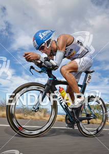 Andreas Raelert competing in the bike portion of the 2011 Ford Ironman World Championship in Kailua-Kona. HI