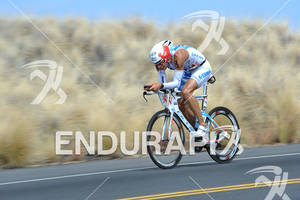 Dirk Bockel competing on the bike portion of the 2011 Ford Ironman World Championship in Kailua-Kona. HI, October 8 2011