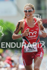 Chrissie Wellington competing in the run portion of the 2011 Ford Ironman World Championship in Kailua-Kona. HI