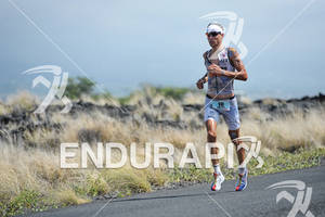 Andreas Raelert in the Natural Energy Lab competing in the run portion of the 2011 Ford Ironman World Championship in Kailua-Kona. HI, October 8 2011