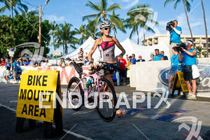 Kelly Williamson (USA) competing in the bike portion of the 2011 Ford Ironman World Championship in Kailua-Kona, HI on October 8, 2011.