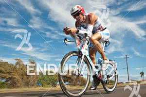 Dirk Bockel (LUX) competing in the bike portion of the 2011 Ford Ironman World Championship in Kailua-Kona, HI on October 8, 2011.
