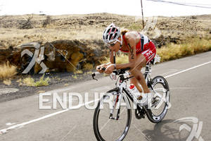 Chrissie Wellington competing in the bike portion of the 2011 Ford Ironman World Championship in Kailua-Kona, HI. October 8, 2011.