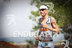 Andreas Raelert competing in the run portion of the 2011 Ford Ironman World Championship in Kailua-Kona, HI. October 8, 2011.