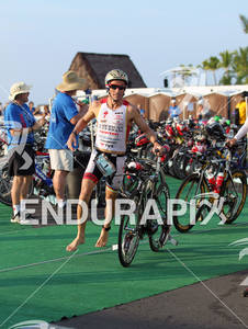 Craig Alexander in the swim to bike transition of the 2011 Ford Ironman World Championship in Kailua-Kona, Hawaii. 8 October 2011.