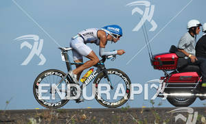 Andreas Raelert of Germany on the bike at the 2011 Ford Ironman World Championship in Kailua-Kona, Hawaii. 8 October 2011.