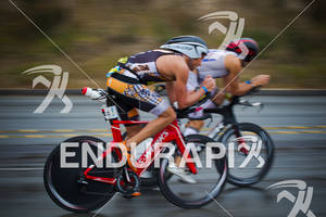 Jessie Thomas and Matt Lieto on bike course at the  Ironman 70.3 California on March 31, 2012  in Oceanside, CA