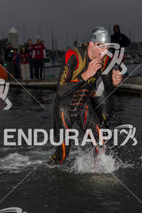 Andy Potts freaks at the  Ironman 70.3 California on March 31, 2012  in Oceanside, CA