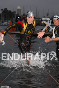 Andy Potts is first out of the water at the  Ironman 70.3 California on March 31, 2012  in Oceanside, CA