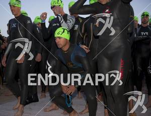 Age-groupers readying for the swim start at Ironman St. George in St. George, Utah May 5, 2012.
