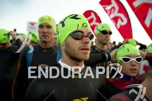 An age-grouper gets his game face on before entering the water  for the swim start at Ironman St. George in St. George, Utah May 5, 2012.