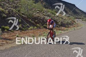 Ben Hoffman competing in the bike portion of the Ironman St. George in St. George, Utah May 5, 2012.