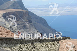 Athletes on Mirador del Rio on the bike portion of the 2012 Ironman Lanzarote May 19, 2012 in Canary Islands, Spain