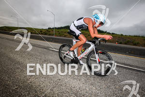 Lewis Elliot races downhill on bike at the Ironman Coeur d' Alene on June 24, 2012 in Coeur d Alene, ID