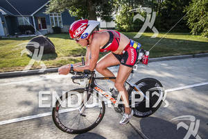 Dede Griesbauer riding at  the Ironman 70.3 Racine, in Racine, Wisconsin on July 15, 2012