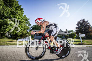 Jeff Paul passing through the streets at the Ironman 70.3 Racine, in Racine, Wisconsin on July 15, 2012