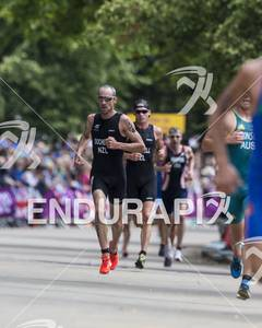 Bevan Docherty, NZL, and Kris Gemmell, NZL, on the run course at the 2012 London Olympic Men's Triathlon