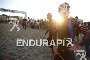 A pro division triathlete prepares to begin the 2012 Los Angeles Triathlon in Venice Beach, CA on September 30, 2012.