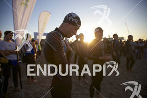 Hunter Kemper during the national anthem at 2012 Los Angeles Triathlon in Venice Beach, CA on September 30, 2012.