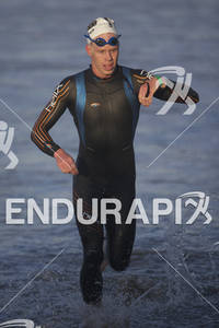 Cameron Dye exits the water at the 2012 Los Angeles Triathlon in Venice Beach, CA on September 30, 2012.