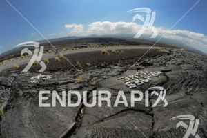Lava fields on the bike course at the Ironman World Championship in Kailua-Kona, Hawaii on October 13, 2012