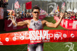 Javier Gomez is victorious at the 2013 Escape from Alcatraz Triathlon on March 3, 2013 in San Francisco, CA