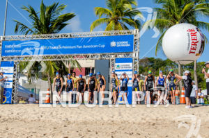 Female race start  at 2013 Joao Pessoa ITU Triathlon Premium Pan American Cup in Joao Pessoa, Brazil on April 7th, 2013.