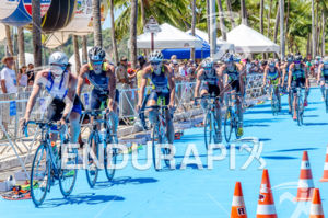 Bike pack crossing the classical ITU blue  transition area  at 2013 Joao Pessoa ITU Triathlon Premium Pan American Cup in Joao Pessoa, Brazil on April 7th, 2013.