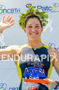 Race winner, olympian triathlete, Pamella Oliveira  at 2013 Joao Pessoa ITU Triathlon Premium Pan American Cup in Joao Pessoa, Brazil on April 7th, 2013.