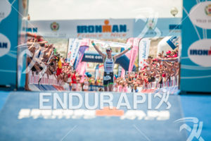 Frederik Van Lierde winning the 2013 Ironman Nice on June 23, 2013 with a record time of 08:08:59. This was the third victory in a row for Frederik in Nice.