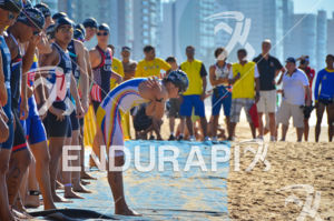 Athlete warming up prior to Junior male race start at the 2013 Vila Velha ITU Triathlon Pan American Cup on June 29, 2013.