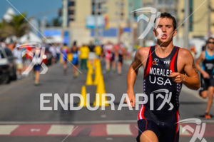 US' Tony Morales running during the Junior male race at the 2013 Vila Velha ITU Triathlon Pan American Cup on June 29, 2013.