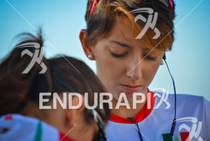 Mexican Adriana Barraza prepares herself prior to the race start at the 2013 Vila Velha ITU Triathlon Pan American Cup on June 30, 2013.