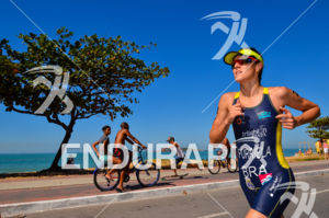 Brazilian under-23 Carolina Furriela running at the 2013 Vila Velha ITU Triathlon Pan American Cup on June 30, 2013.