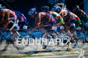 American Jason Pedersen pushing it hard on the bike at the 2013 Vila Velha ITU Triathlon Pan American Cup on June 30, 2013.