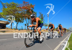 Brazil's Reinaldo Colucci leads the way at the 2013 Vila Velha ITU Triathlon Pan American Cup on June 30, 2013.