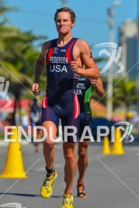 American Jason Pedersen running at 2013 Vila Velha ITU Triathlon Pan American Cup on June 30, 2013.