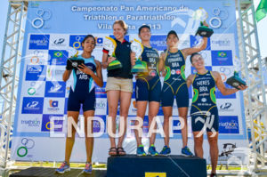 Female elite podium at 2013 Vila Velha ITU Triathlon Pan American Cup on June 30, 2013.