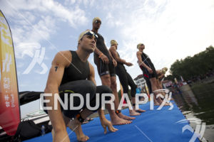 Javier Gomez Noya stretching before the start at the 2013 Beijing International Triathlon on September 21, 2013 in Beijing, China.